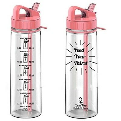 Drin'Kup BPA Free 900ml Water Bottle with Straw|Motivational-Times to Drink Mark