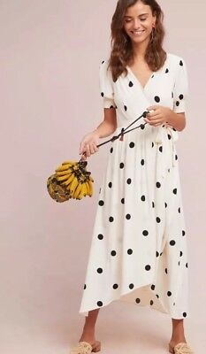 Anthropologie Breanna Polka Dot Wrap Midi Dress By Maeve Size: 12 New