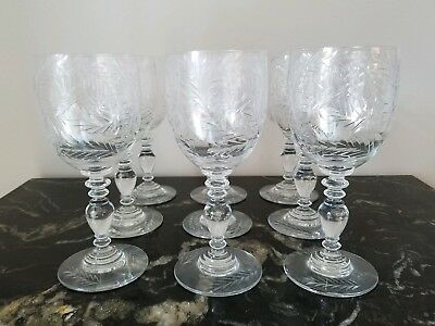 Antique Cut Glass Water/Red Wine Glasses (9) Free Shipping!