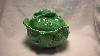 "Green cabbage-shaped dish, covered bowl, 7"" across 5 1/2"" tall"
