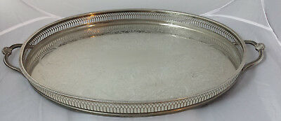 "V. large 22"" Cavalier silver plated oval footed gallery tray with shell handles"