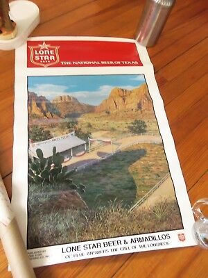 "Lone Star Beer ""Armadillo Races Today"" Poster 18"" X 28"""