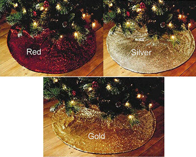 Christmas Beautiful Unique Deluxe Sequin Tree Skirt XMAS Decoration W
