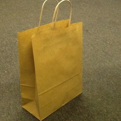 25 Paper Carrier Bags with twisted paper handles, Brown, White and Coloured