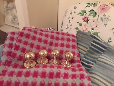 Four Brass Antique Door Knobs - Excellent Condition