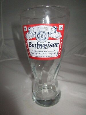 """Vintage Swirled Budweiser Logo King of  Beers 6.75"""" Glass Official Product Stamp"""