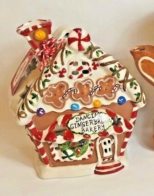 NEW Blue Sky Clayworks DANCING GINGERBREAD BAKERY House Tea Light Goldminc