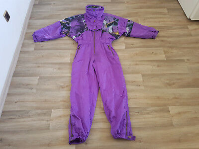 Glanznylon Skioverall Gr.42, Damen, 80er-90er Retro, Winter, Lila