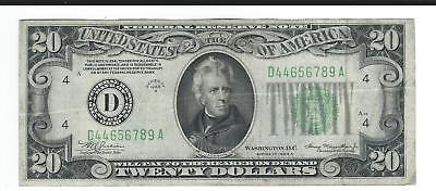 $20 1934 A green seal fancy ladder serial number 4465 6789