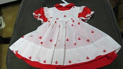 Red Dress With White Eyelet Pinafore - Baby Size  18 Months - Vintage Dress