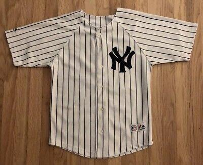 6dcf9340551 New York Yankees Youth Jersey Size 10 12 Johnny Damon  18 Majestic Pin  Stripes