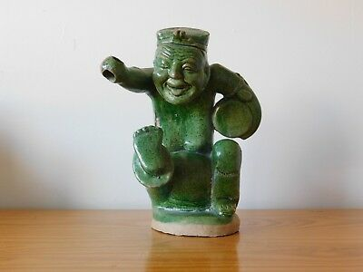 c.17th - Antique Chinese Ming in Han Style Green Glazed Pottery Drummer Figure
