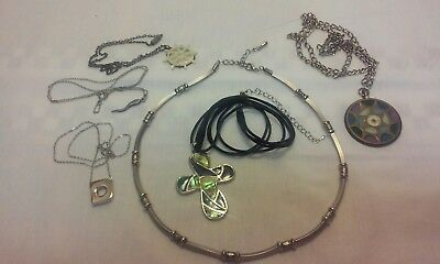 Vintage Now Lot of 6 Necklaces Sterling Stainless Brass Rope Abalone MOP