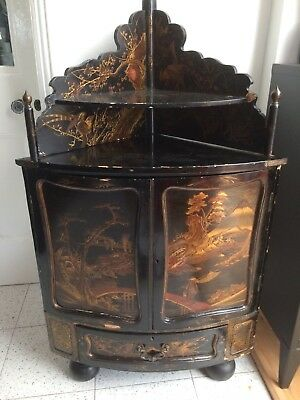 Antique Chinese Lacquered Cupboard colourful unique very old!!