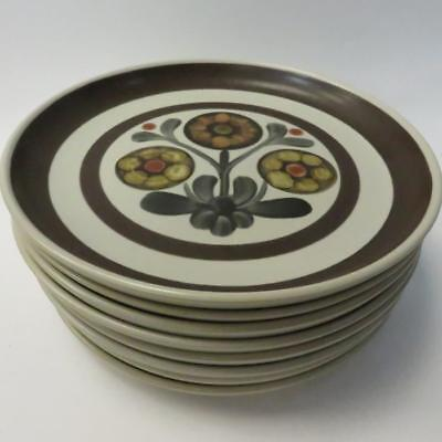 Set of 8 Vintage Mayflower Plates by Denby, Made in England, Diameter 25.5cm
