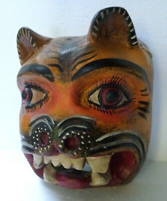 Mexican Nahua Folk Art Guerrero Carved Wood Wall Mask Jaguar Nagual Cat 10""