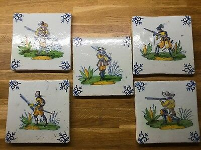 5 Antique Polychrome Dutch Delft Hand Painted Earthenware Wall Tiles