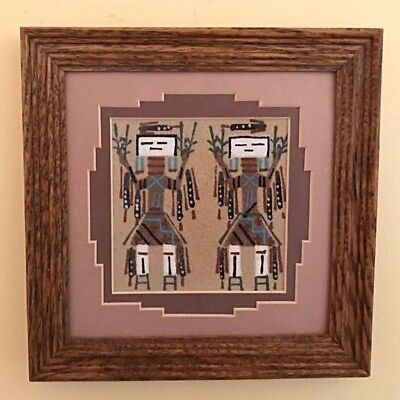 Authentic Navajo Sandpainting 7x7 Yei-Be-Chai's Framed & Signed by T.B.