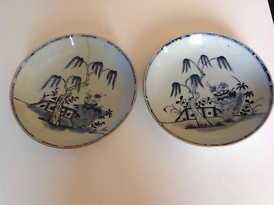 """Pair Chinese Antique Late 18th Century Plates  8 3/4"""" Diameter Approx Stapled"""