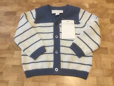 BNWT Little White Company Baby Boy Knitted Striped Cardigan 0-3 months rrp £26