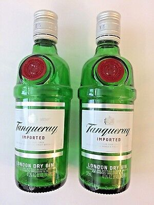 Tanqueray Gin Glass Empty Green  Bottle Size is 375 ml Lot of Two
