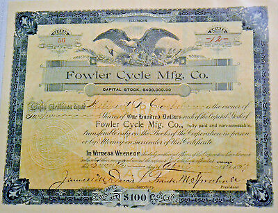 Fowler Cycle Mfg. Co. 1897 antique stock certificate – bicycle cycling