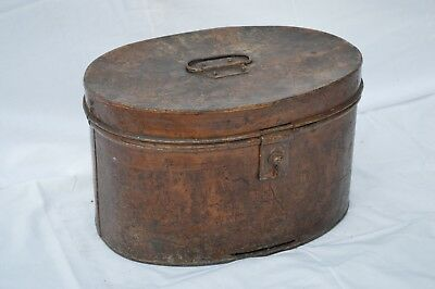 Antique Victorian Metal Hat Box Vintage Storage Chest