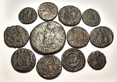 Lot of 12 Æ1-4 Ancient Roman Bronze Coins from IV. Century