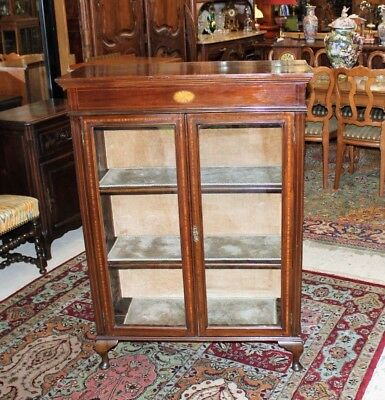 Antique Mahogany Queen Anne Inlaid Wood Glass Door Display Cabinet | Bookcase