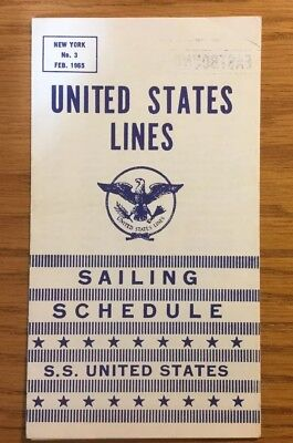 SS United States Lines Sailing Schedule Of The SS United States