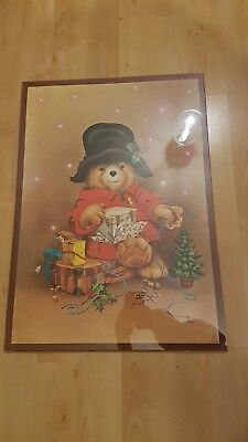 Vintage, 1970s Paddington Bear Christmas Wrapping Paper in poster design.