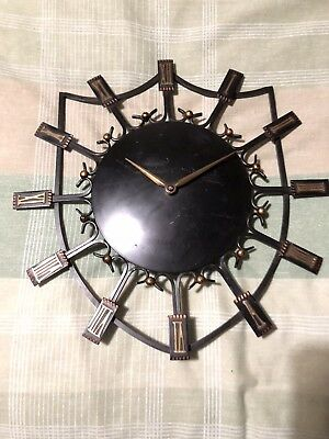 Smiths Vintage Sectronic battery wall clock with Roman numerals,metal.