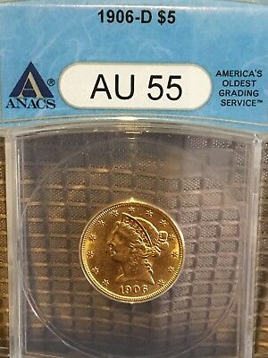 1906-D $5 Gold Liberty Half Eagle ANACS AU55 RK-180