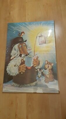 Vintage, 1970s Wombles Christmas Wrapping Paper in poster design.