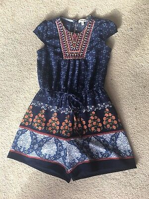 Monteau Girl Romper Blue And Floral Embroidered Neck Tie Waist size 8