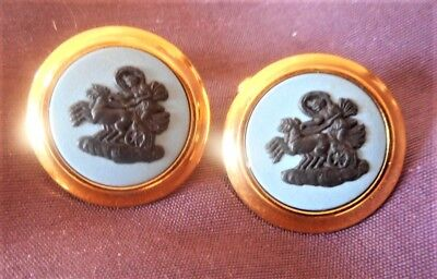 Wedgwood Cufflinks With Aurora Crossing The Heavens, Perfect & Boxed