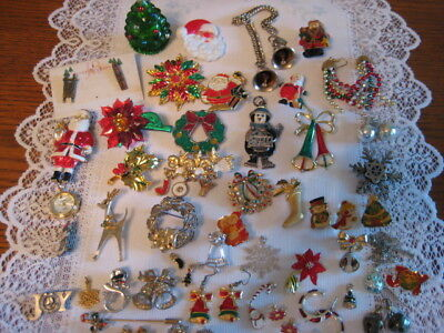 Vintage Estate Jewelry Lot Of Christmas Brooches Earrings Necklaces Lot 2