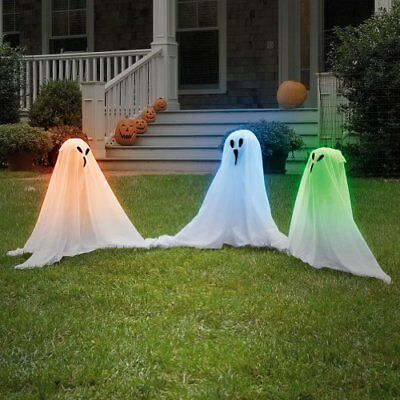 """19"""" Tall Light Up Lawn Ghosts Outdoor Halloween Decoration One Size"""