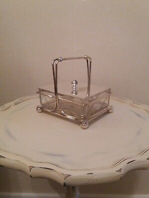 Victorian  Silver Plated And Glass Sardine Dish
