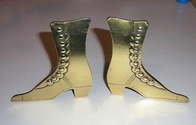 Antique Victorian Pair of Solid Brass Button Up Boots Mantle Ornaments (RARE)