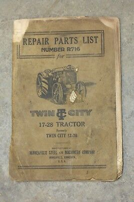Twin City 17-28 Tractor Repair Parts List No. R716, Minneapolis Machinery Co.