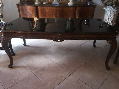 Beautiful Black Glass Top Italian/ French Dining Table!
