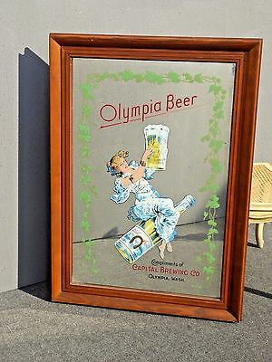Vintage OLYMPIA BEER Pale Export Wall Mantle MIRROR Capitol Brewing Co.