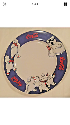 Vintage Coke Coca-Cola Polar Bear Dinner Plates X 6 L@@k!