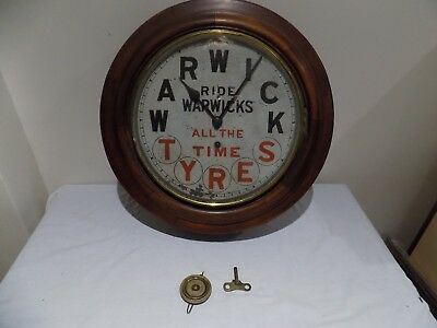 ANTIQUE ADVERTISING WARWICK TYRES WALL CLOCK EARLY 20thC EX WORKSHOP - WORKING