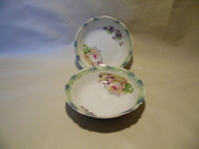 Silesia small bowls x 2, beautiful green floral, German