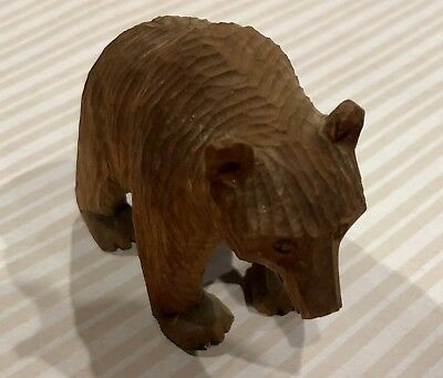 Small Carved Wooden Grizzly Bear Figurine