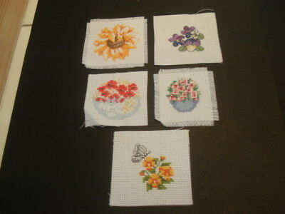 BUNDLE of FOUR Little Stitched Completed PICTURES Ready to Frame CUTE!