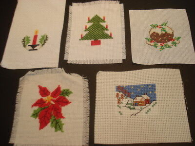 BUNDLE of FIVE Little XMAS Stitched Completed PICTURES Ready to Frame CUTE!