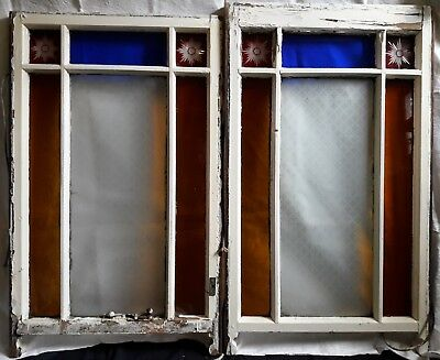 Victorian coloured glass box sash window with red, blue, amber and etched glass